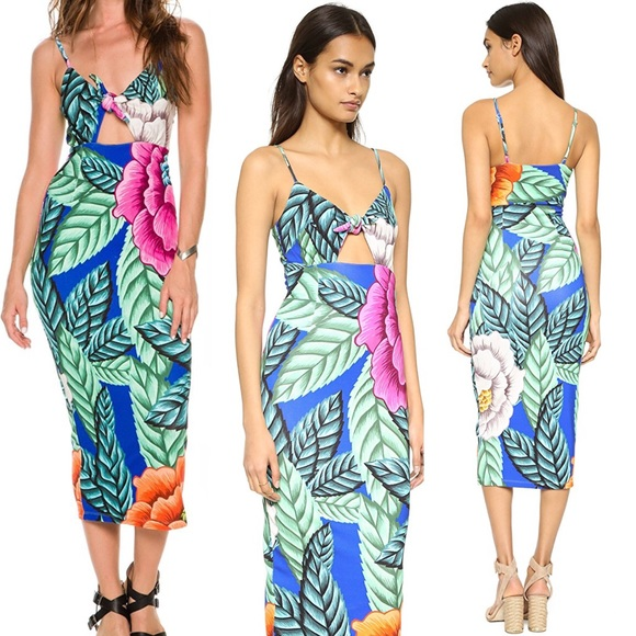720f1dc1187a Mara Hoffman Tropical Floral Tie Front Midi Dress.  M_5a6e72be31a376c7e8375116